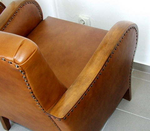 Art Deco leather armchair