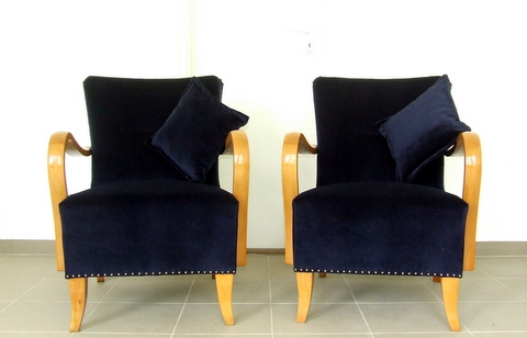 Art Deco armchairs. Royal blue velvet.