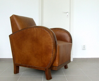 Art Deco Leather Armchair. £695.