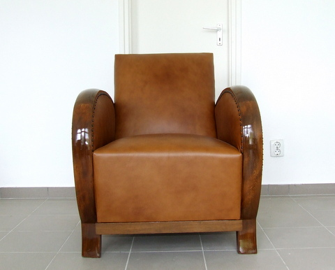 Art Deco leather club chair.