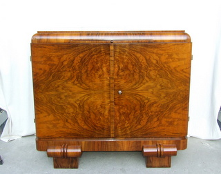 Art Deco walnut sideboard, cocktail cabinet.