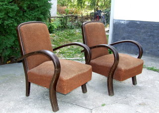 Matching Pair of Art Deco Armchairs.