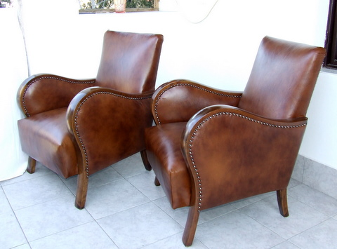 Matching Pair of Art Deco Leather Armchairs, Club Chairs ...