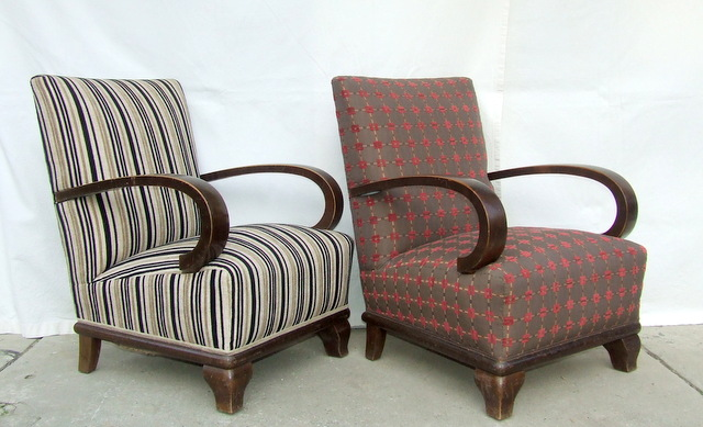 Pair of Art Deco Armchairs, Club Chairs.