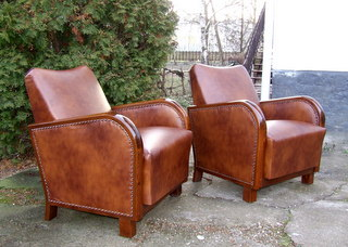 Pair of Art Deco Leather Club Chairs.