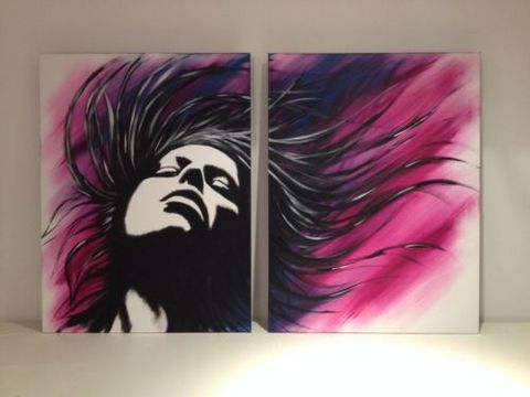 Original Diptych Oil Painting on Floating Canvases.